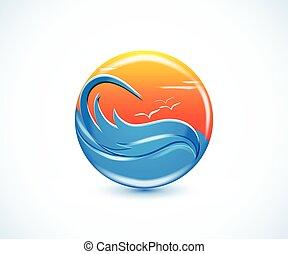 熱帯 楽園, 浜, 夏, 日当たりが良い, ロゴ