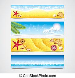 熱帯 浜, ベクトル, 旗, セット