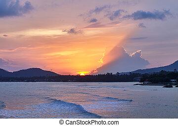 熱帯 浜, 驚かせること, 日没, カラフルである