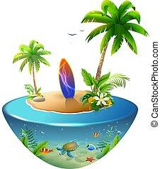 熱帯 浜, island., サーフボード, パラダイス