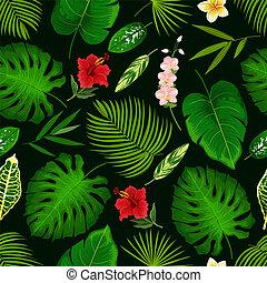 熱帯 花, そして, やし 葉, seamless, パターン