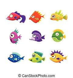 熱帯 魚, 漫画, カラフルである, コレクション