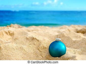 熱帶, 背景, 年, 新, 海灘, 聖誕節