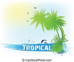 熱帶, 背景。, 摘要, 矢量