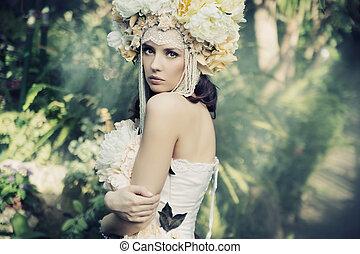 熱帶, 黑發淺黑膚色女子, 森林, 相當