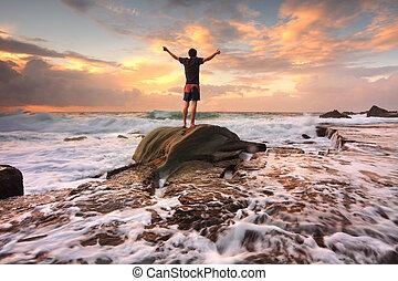 熱心, 生活, 称賛, 神, 愛, 自然, 日の出, 不穏である, 海, 腕