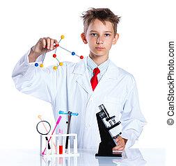 熱狂的, 若い, 化学者
