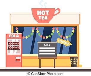 熱的茶, 商店前面, 在, 圣誕節。, 矢量, 插圖
