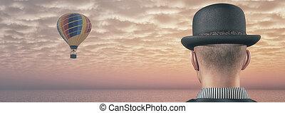 熱, 人, 气球, 看, 空氣