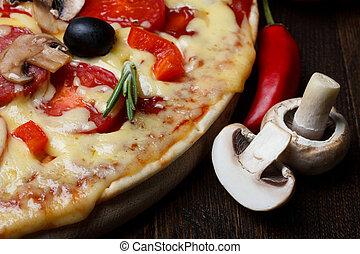 熱, 比薩餅, 特寫鏡頭, 成分