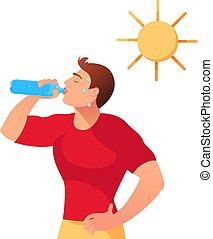 熱, 漫画, 水 の下, concept., 若者, sun., イラスト, ベクトル, 極点, 飲み物