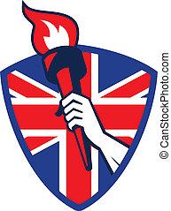 燃えるような トーチ, イギリス, 手, 旗, 保有物