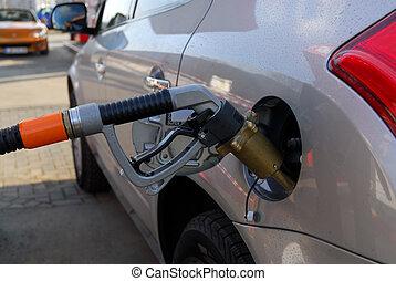 燃料, ガスポンプ, 駅, 自然