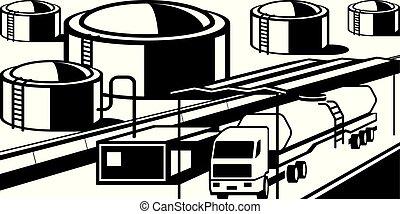 燃料, ローディング, タンク, 石油, 基盤, トラック