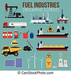 燃料, 産業, オイル, 要素, infographics