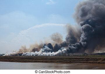 燃焼, ごみ, 積み重ね, 煙