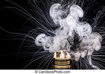 燃焼, の, 電子, cigarette., 人気が高い, vaporizing, e-cig, 小道具, へ,...