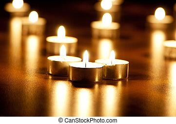 燃焼, 多数, 浅い, フィールド, 深さ, 蝋燭