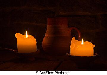 燃焼, 大袈裟な表情をしなさい, 蝋燭, 粘土, 2, 白熱, 炎, dark., テーブル。