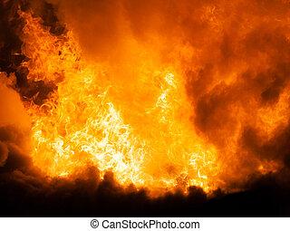 燃焼, 火の家, 屋根, 木製である, 炎