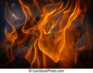 燃焼, 火, ぐっと近づいて, れんが, 暖炉