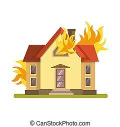 燃焼, 火, ダブル, 燃え上がる, decker, 背景, 家, 白