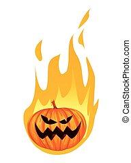 燃焼, 火, ハロウィーン, o, ジャッキ, ランタン, カボチャ