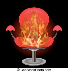 燃焼, 火, 肘掛け椅子, 炎, 背景, 赤