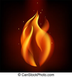 燃焼, 火, 隔離された, 炎, 背景, 黒い赤