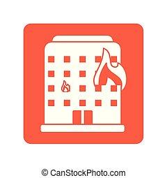 燃焼, 線, 建物, 炎, スタイル, ブロック, アイコン, 火