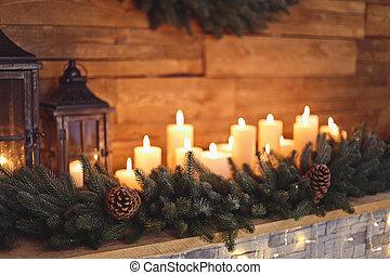 燃焼, 蝋燭, 年の, 内部, 新しい, 暖炉, クリスマス