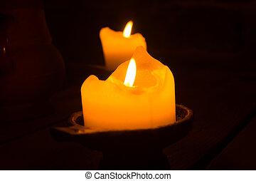 燃焼, 蝋燭, 2, 白熱, 炎, dark.