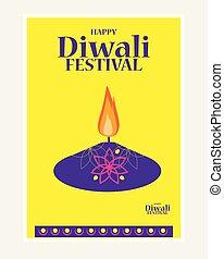 燃焼, diya, 祝祭, ライト, diwali, インド, イラスト, ベクトル, 背景, 休日, 幸せ