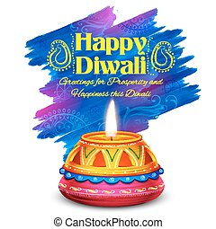 燃焼, diya, 祝祭, ライト, diwali, インド, 水彩画, 背景, 休日, 幸せ