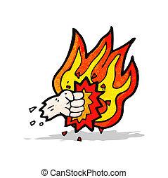 燃燒, 打孔機, 拳頭, 卡通