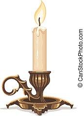 燃燒, 蠟燭, 在, 青銅, candlestick