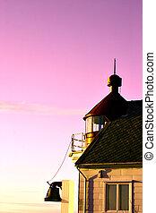 燈塔, 在, sunse