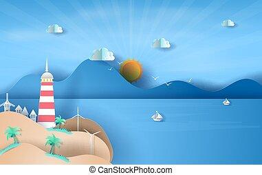 燈塔, 浮動, 夏天, 島, 概念, vector., 圖表, sky., 陽光, 看法, 風景, 海邊, 工藝, 時間, 紙船, 季節, 設計, 傷口, 天空, 想法, 藍色, 插圖, 海