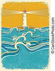 燈塔, 紙, 老, 插圖, 海, 地平線, 波浪, texture., 矢量
