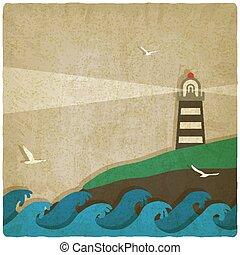 燈塔, 老, 海, 背景, 懸崖