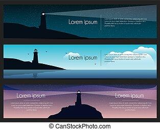 燈塔, set., 插圖, 矢量, 海, 岩石, 旗幟, 風景