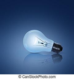 燈泡, 上, 藍色的背景