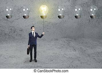 燈泡, 光, 上, 商人
