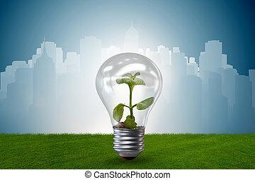 燈泡, 在, 綠色, 環境, 概念, -, 3d, rendering