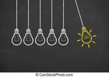 燈泡, 想法, 工作, 黑板