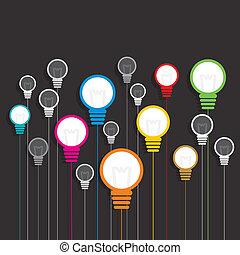 燈泡, 鮮艷, 背景, 創造性