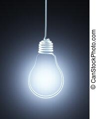 燈泡, 黑色半面畫像, 懸挂, 3d