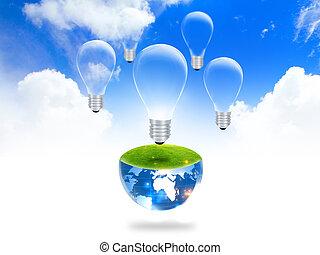 燈泡, :, eco, 概念