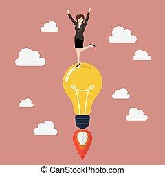 燈泡, rocket., 婦女, 想法, 事務