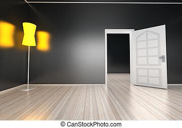 燈, 在, a, 空的房間